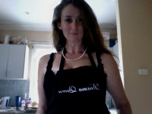 In my kitchen in Petersham, in an apron I used to resent, but now I embrace.
